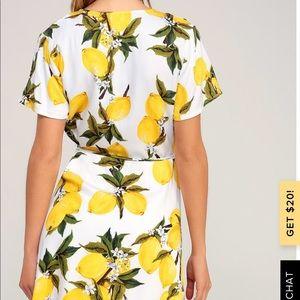 A La Tart white and yellow lemon print wrap dress